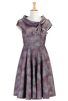 I <3 this Cowl collar with ties print dress from eShakti