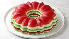 """Christmas Jello Salad Ring: This delightfully retro """"salad"""" would be right at home in an episode of Mad Men. The pretty layers are infused with booze for an adults-only dessert that's basically the classiest jello shot ever. Jello Desserts, Jello Recipes, Pudding Recipes, Salad Recipes Video, Shot Recipes, Most Popular Recipes, Favorite Recipes, Menu Simple, Jello Molds"""