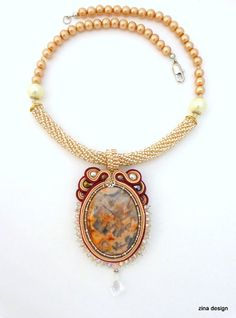 Soutache Necklace with Agate Burgundy Beige by ZinaDesignJewelry