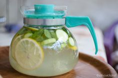 2L water, 1 medium cucumber, 1 lemon, 10-12 mint leaves. steep overnight in fridge and drink every day. Also great for general detox--including clear skin!