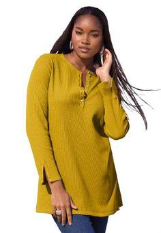 Fashion Bug Plus Size Thermal Henley Tunic