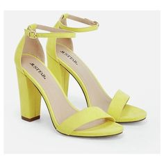 Justfab Heeled Sandals Makemba (170 RON) ❤ liked on Polyvore featuring shoes, sandals, yellow, wide width sandals, yellow heeled sandals, strappy heeled sandals, high heel platform sandals and high heel sandals
