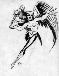 Hawkgirl, in Dennis Kuczynski's Bruce Timm Comic Art Gallery Room Comic Book Artists, Comic Book Heroes, Comic Artist, Comic Books Art, Bruce Timm, Dc Comics Characters, Dc Comics Art, Hawkgirl, Classic Comics