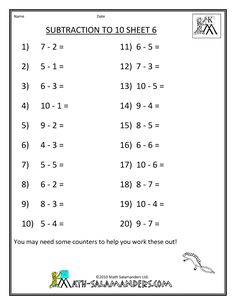 math worksheet : subtraction up to 12 a subtraction math worksheet for 1st grade  : Subtraction From 20 Worksheets