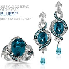 We've got the November Blues Le Vian® ring and earrings in Deep Sea Blue Topaz™ with Ocean Blue Topaz™ and Vanilla Topaz™ accents