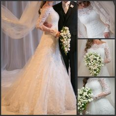 Wholesale Wedding Dresses - Buy 2014 Vestido De Noiva Sexy Sheer 3/4Long Sleeves A Line Lace Wedding Dresses Tulle Applique Beach Garden Bridal Gowns With Beaded, $139.33   DHgate