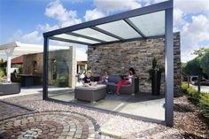 Terrassenüberdachung aus Aluminium inkl. Polykarbonatplatten. Diese zeitlosen und formschönen Terrassenüberdachung wird aus hochwertigem pulverbeschichteten Aluminium hergestellt.