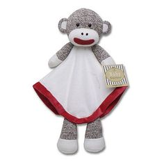 snuggle buddy for a baby, head has a rattle, satin lining on the blanket. from Kohl's