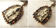 Double sided Thai amulet wire wrapped with Czech glass beads