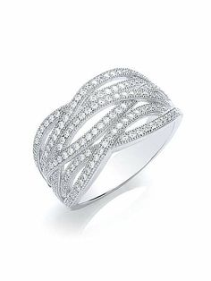 Beautifully embellished with 1.6 carats of intricate micro pave stones, this sterling silver BOUTON statement ring perfectly offers a unique take on contemporary glamour.