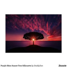 Purple Skies Sunset Tree Silhouette Poster