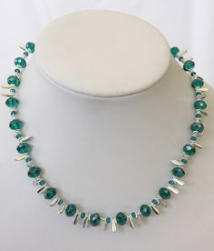 Teal Beaded Necklace Silver Jewelry Crystal Necklace by cdjali, $30.00
