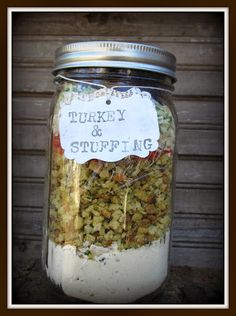 Turkey and stuffing meal in a jar
