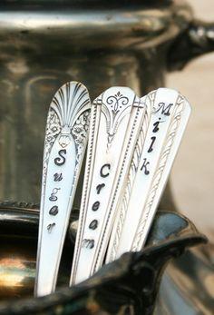Vintage Silverware Cream Sugar Milk spoon set  by BeachHouseLiving
