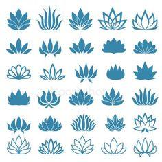 Set of lotus flower icons assortment free vector clipart of … Lotus Kunst, Art Lotus, Doodle Drawing, Doodle Art, Logo Lotus, Logo Fleur, Silkscreen, Illustration Blume, Lotus Design