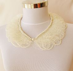 new pearl rhinestone embroidered collar by aynurdereli on Etsy, $37.00
