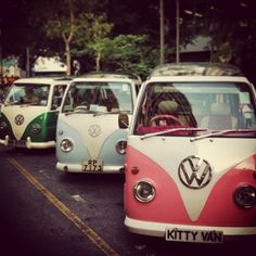 Vintage campervan with chauffeurs. There's a cute Kitty Van too!