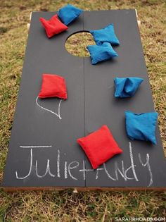 chalkboard corn hole!!!...I also like the way it folds up