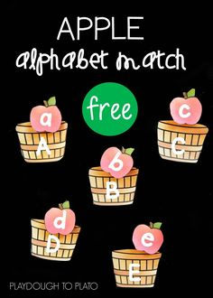Free apple alphabet match up! Fun ABC game for fall. Could practice letter…