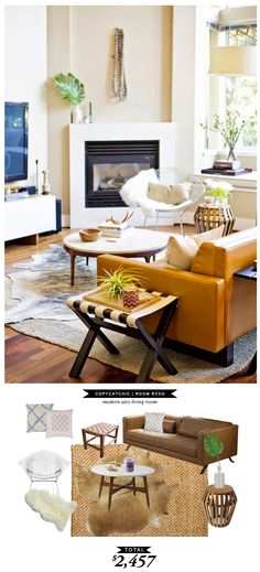 A Copy Cat Chic Room Redo of Apartment 34's modern airy loft living room by @Lindsey Grande Boyer  for only $2,457