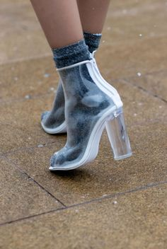 When your sock game is too strong and you want to show it off. Would you rock clear boots?
