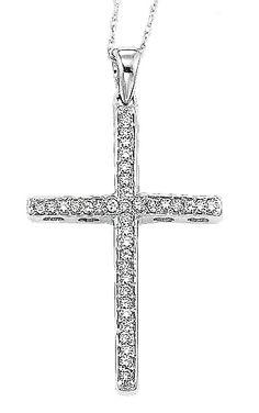 Diamond Jewellers :: Gold and diamond cross pendant