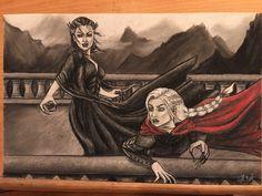 Illustration of Manon fighting her grandmother from Empire of Storms! #sarahjmaas #throneofglass #manon #blackbeaks #empireofstorms Instagram @mscrystalbeard