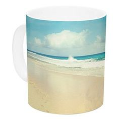 KESS InHouse Beach Time by Sylvia Cook 11 oz. Blue Ceramic Coffee Mug