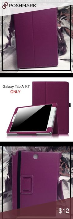 SAMSUNG GALAXY TAB A 9.7 TABLET CASE BOOKCOVER 📱🌎 BRAND NEW BOOKCOVER CASE FOR SAMSUNG GALAXY TAB A 9.7 TABLET 🌎📱  Color: PURPLE Size: TAB A 9.7 ONLY! Bookcover can be positioned into display stand. Soft microfiber interior. Great PU Leather exterior covering.  Function & Fashion Meet.  🤔🙄Friendly Reminder-Know What Your Device Is...Ordering The Wrong Case Is A Bummer! 🙄🤔    🎁 GREAT GIFT 🎁 Accessories Tablet Cases
