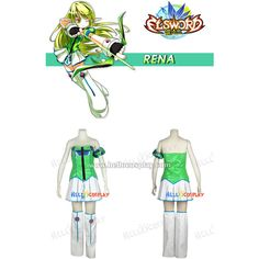 Elsword Cosplay Rena Costume - $85.00 : Hello Cosplay : Cosplay... ($85) ❤ liked on Polyvore featuring costumes, cosplay halloween costumes, cosplay costumes, wig costumes and role play costumes