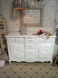 Painted Cottage Chic Shabby White French Server by paintedcottages, $425.00