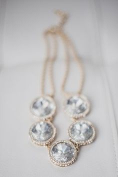 Glamorous Gold Diamond Wedding Necklace | Bellamint Photography | See More! http://heyweddinglady.com/chic-metallic-wedding-with-silver-and-gold-leaf-accents/