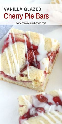 Vanilla Glazed Cherry Pie Bars Easy cherry pie bar recipe from scratch. You can either use canned cherry pie filling or make your own with fresh cherries in this easy cherry dessert recipe. It is perfect for the of July or summer picnics and BBQs. Cherry Desserts, Cherry Recipes, Köstliche Desserts, Cherry Pie Filling Desserts, Tart Filling, Filling Recipe, Cherry Pie Bars, Canning Cherry Pie Filling, Cherry Pies