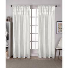Exclusive Home White Vintage Crochet Curtain Panel ($15) ❤ liked on Polyvore featuring home, home decor, window treatments, curtains, white window treatments, white window panels, rod pocket curtains, white home decor and white drapery panels