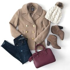 winter outfit idea majesty coat cable knit beanie franell bootie