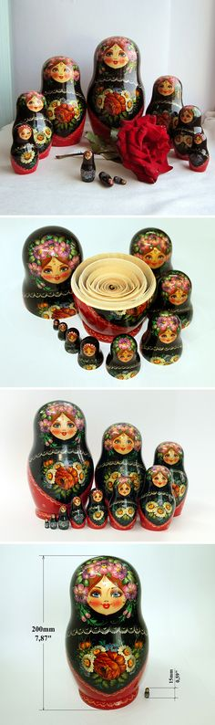 Matryoshka doll, handcrafted from wood and handpainted. Sets of 10 dolls. Smaller dolls are entering inside of bigger ones. The doll is handpainted, some differences with photo are possible.