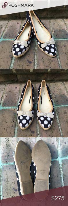 Miu Miu Polka Dot Espadrille Flats Navy linen with white polka dots. Super cute ribbon accent at toes. VEUC. Miu Miu Shoes Flats & Loafers