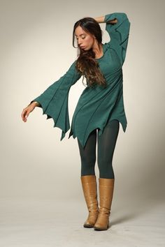 Fairy Forrest Jumper - Magic Pixie Dust - Hippie Festival Tunic - Leafy Hooded Top. $85.00, via Etsy.
