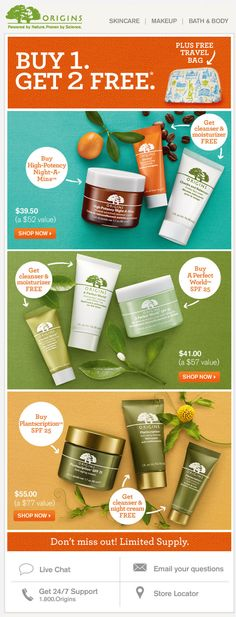 Origins - Buy 1, Get 2 Free + Free Bag deal; special skin care packages