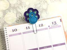 Peacock  purple & blue  felt  Planner clip by createdbydanielle1