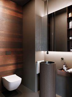 10 Gorgeous and Modern Powder Room Design Ideas We shares powder room design and decorating ideas in every style, including vanities, sinks, mirrors, decor and more. Washroom Design, Toilet Design, Bathroom Design Small, Bathroom Interior Design, Eclectic Bathroom, Bathroom Styling, Modern Bathroom, Serene Bathroom, Best Bathroom Lighting