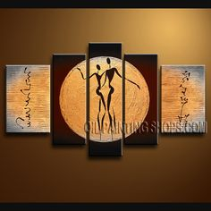 Colorful Modern Abstract Painting Artist Oil Painting For Bed Room Figure. This 5 panels canvas wall art is hand painted by Bo Yi Art Studio, instock - $178. To see more, visit OilPaintingShops.com