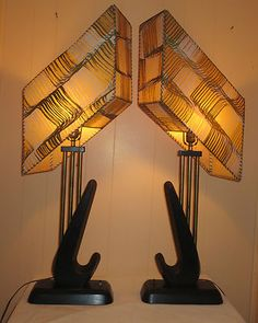 Vintage Pair Retro Mid Century Era Majestic Fiberglass Shades Table Lamps Nice | eBay