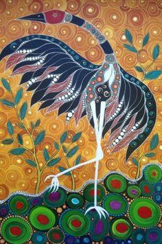 Brolga & the Golden Sky Melanie Hava 2011 Mixed Media Aboriginal Art Animals, Aboriginal Painting, Indigenous Australian Art, Indigenous Art, Acrylic Artwork, Dot Painting, Murals Street Art, Native Art, Bird Art