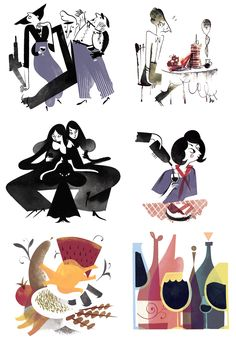 Lucky Peach - Roman Muradov // Opening spread, ten spot illustrations and recipe drawings for an article on Georgian cuisine and festivities by Gideon Lewis-Kraus. Art direction and type by Walter Green.
