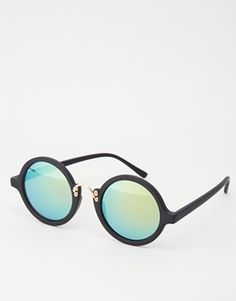 ASOS Round Sunglasses With Exaggerated Nose Bridge And Flash Lens