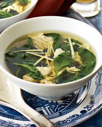 SPINACH EGG DROP SOUP FAST RECIPE- FOOD & WINE  5 cups chicken stock or low-sodium broth  One 3-inch piece of fresh ginger—2 inches thinly sliced, 1 inch peeled and julienned  1 teaspoon freshly ground white pepper  2 large eggs, lightly beaten  2 cups packed spinach leaves, with stems  Salt