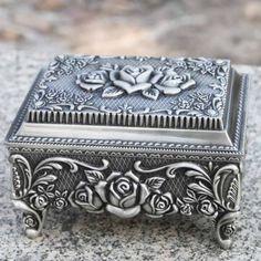 Antique Brides Box | Women Antique Silver Tin Rosette Wedding Bridal Jewelry Keepsake Box
