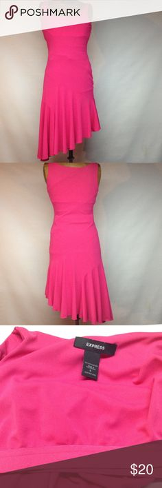 Hot pink tank dress Hot pink dress with longer length on one side - bra inside dress ( see third picture). Armpit to armpit 15' Express Dresses Midi