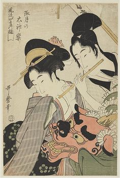 'lion dance of the new year' by kitagawa utamaro — woodblock print; ink and color on paper — 19th century